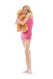 Teen girl with teddy bear Royalty Free Stock Images