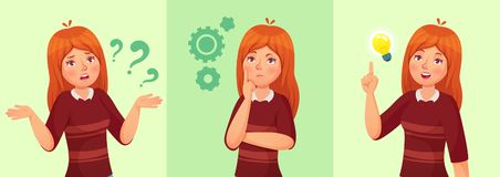 Teen girl think. Confused young female teenager, thoughtful girl student and answering question vector cartoon vector illustration