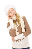 Teen girl thought the cap and scarf isolated Stock Images