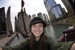 Teen Girl Tourist Selfie Chicago Stock Photography