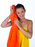 Teen girl with towel Royalty Free Stock Photos