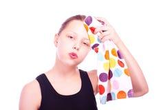 Teen girl with towel Stock Image