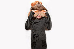Teen girl with toy bear. Eyes closed isolated Royalty Free Stock Images