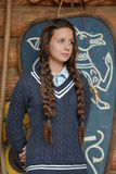 Teen girl with two plaits Royalty Free Stock Photo