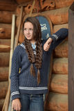 Teen girl with two plaits Royalty Free Stock Photos