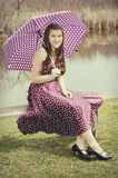 Teen Girl with Umbrella Royalty Free Stock Photography