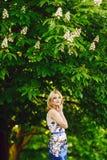 Teen girl under the chestnut Stock Photo