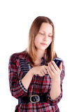 Teen girl use mobile phone Stock Image