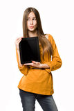 Teen girl using tablet computer. Royalty Free Stock Images