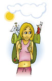 Teen girl on vacation. Illustration of teen girl on holiday vacation with angel and devil Stock Photos