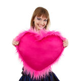 Teen girl with valentine pink heart Royalty Free Stock Photo