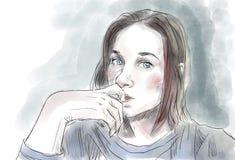 Teen Girl. Vector art. Royalty Free Stock Images