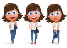 Teen girl vector character holding hand bag wearing jeans. And fashionable dress with different model pose and smile in white background. Vector character set Stock Images