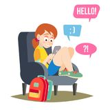 Teen Girl Vector. Teen Girl Texting With Cell Phone. Smart Phone Chatting Addiction. Cartoon Character Illustration. Teen Girl Vector. Happy Girl Communicate On Stock Image