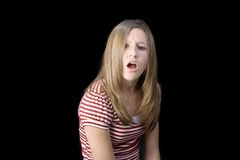 Teen girl voicing displeasure Royalty Free Stock Photo