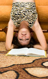 Teen girl want not read book Stock Images