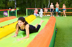 Teen girl in water park Royalty Free Stock Photo
