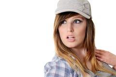 Teen girl wearing baseball hat Stock Image