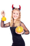 Teen girl wearing devil horns Royalty Free Stock Photo