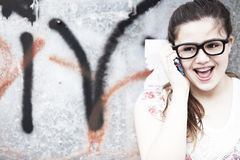 Teen girl wearing glasses Stock Photos