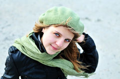 Teen girl wearing green beret Royalty Free Stock Photo