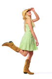 Teen girl wearing hat and boots royalty free stock images
