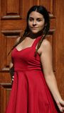Teen Girl Wearing Red Dress Stock Photography