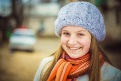The Girl In A White Beret Stock Images
