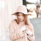 Teen girl wearing winter clothes Stock Photography