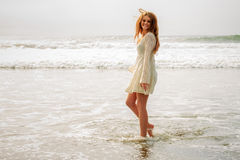 Teen girl wet at the beach Royalty Free Stock Image