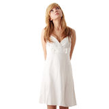Teen girl in white dress Royalty Free Stock Photo