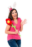 Teen girl with white rabbit ears Stock Photos