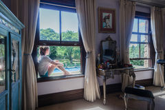 Teen Girl Window Bedroom Stock Image