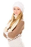 Teen girl in a winter cap Royalty Free Stock Photos
