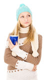 Teen girl in winter hat Royalty Free Stock Images