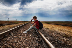 Free Teen Girl With Problems Sitting On Rail Road Royalty Free Stock Photo - 30331385