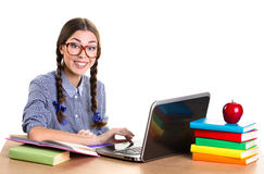 Teen girl working Royalty Free Stock Photography