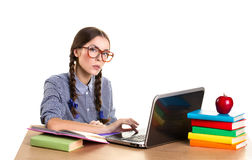 Teen girl working Stock Images