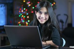 Teen girl working on the laptop 5 Royalty Free Stock Image