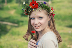 Teen girl 16 years old on a meadow Royalty Free Stock Photo