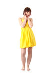 Teen girl in yellow summer dress Stock Photo