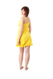 Teen girl in yellow summer dress Stock Images