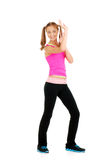 Teen girl zumba fitness. Wearing a pink top Royalty Free Stock Photography