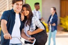 Teen girlfriend boyfriend. Cheerful teen girlfriend and boyfriend outdoors royalty free stock photo