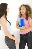 Teen girls. Two young woman standing near window and talking. One of them holding notebook. Side view Stock Image