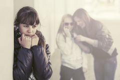 Teen girls in conflict on city street Royalty Free Stock Photos