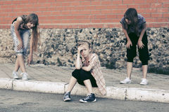 Teen girls in conflict at the school building Royalty Free Stock Photography