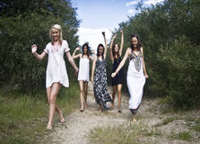 Teen girls on dirt path Royalty Free Stock Photography