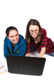 Teen girls doing homework Stock Photography