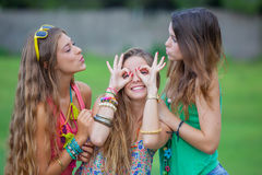 Teen girls goofing Royalty Free Stock Image
